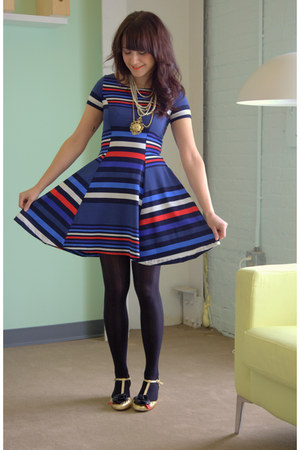 gold modcloth shoes - blue modcloth dress - black modcloth tights