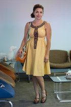 light yellow modcloth dress - light brown modcloth bag