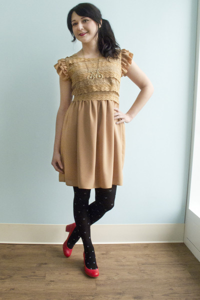 neutral lace One For You One For Me Dress dress