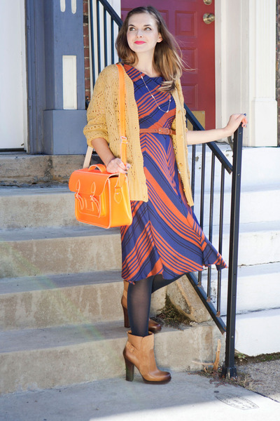 bronze modcloth boots - carrot orange modcloth dress - navy modcloth tights