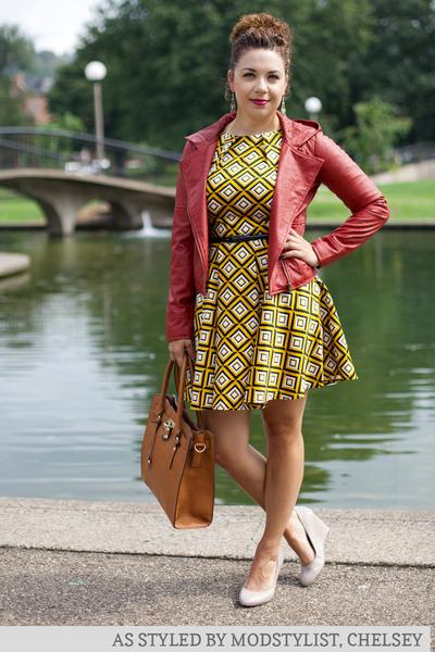 maroon modcloth jacket - mustard modcloth dress - brown modcloth bag