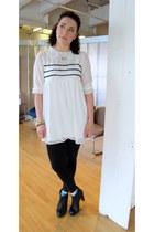 white modcloth dress - black leggings - black modcloth heels