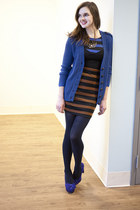 brown modcloth dress - navy modcloth sweater - navy modcloth tights