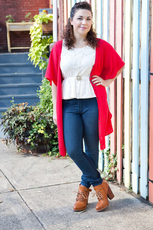 tawny modcloth boots - red modcloth dress - blue modcloth jeans