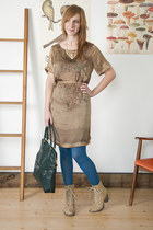 beige modcloth boots - tan modcloth dress - sky blue modcloth tights