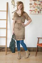 tan modcloth dress - beige modcloth boots - sky blue modcloth tights
