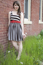 white modcloth dress - black modcloth flats - red modcloth belt
