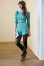 Turquoise-blue-teal-belted-teal-a-second-glance-romper-romper