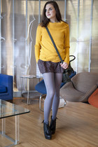 mustard modcloth sweater - heather gray modcloth tights - dark green modcloth ba