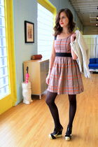 black modcloth shoes - orange ModCoth dress - beige modcloth blazer