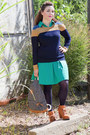 Bronze-modcloth-boots-turquoise-blue-modcloth-dress-navy-modcloth-sweater