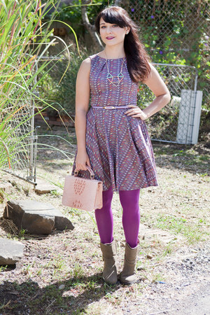 light purple modcloth dress - purple modcloth tights - light pink modcloth purse