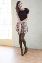 olive green modcloth tights - charcoal gray modcloth skirt - black modcloth top
