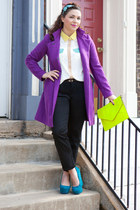 purple modcloth coat - yellow modcloth bag - white modcloth top