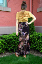 black modcloth skirt - gold modcloth top - brown modcloth wedges