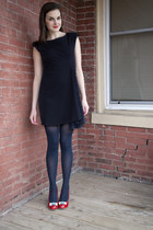 navy modcloth dress - navy modcloth tights - ruby red modcloth heels