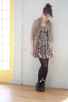 black modcloth boots - heather gray modcloth dress - heather gray modcloth jacke
