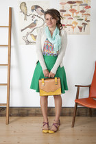 gold modcloth purse - turquoise blue modcloth skirt - hot pink modcloth top