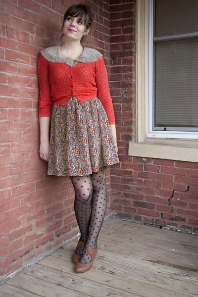 black polka dot modcloth tights - red modcloth cardigan - off white modcloth top