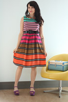 hot pink striped On Style Swatch Dress dress