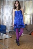 black modcloth wedges - blue betsey johnson modcloth dress