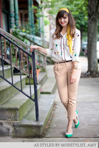 mustard modcloth scarf - neutral modcloth pants - white modcloth blouse