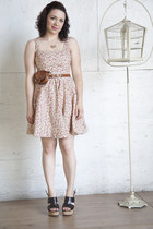 light brown modcloth belt - light pink modcloth dress