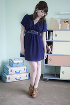 deep purple modcloth dress - brown modcloth wedges - ivory modcloth earrings
