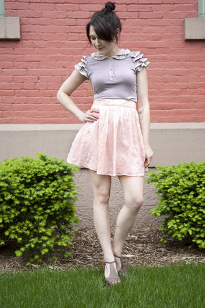 periwinkle modcloth top - light pink modcloth skirt - gray modcloth heels