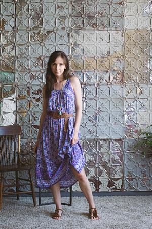 deep purple midis Spell Designs dress - brown woven f21 belt