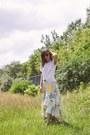 White-unknown-shirt-aquamarine-ruffled-lokoa-skirt
