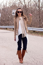 camel pleather f21 jacket - tawny slouchy Feet First boots
