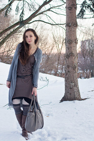 brown winter Locale boots - brown asymmetrical unknown dress