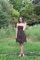 light brown wedges unknown shoes - dark brown strapless MM Couture dress