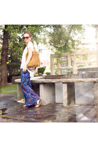 white loose unknown top - brown fringe Target bag - blue bell bottoms UO pants