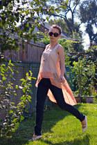 nude hi-lo unknown blouse - navy always skinny Gap jeans