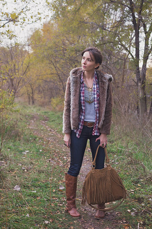 brown faux fur Zara jacket - navy skinny jeans Lucky Brand jeans
