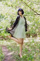 green sequined shift Ruche dress - black fringe kimono Lovely Day jacket