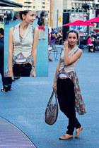 teal hi-lo floral Hi-Lo Top blouse - tan fitted H&M vest