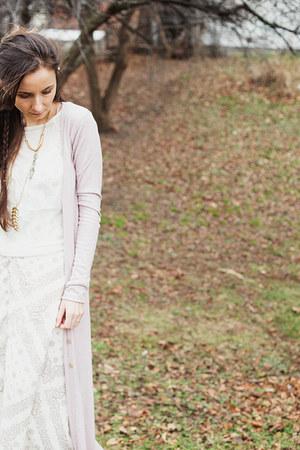 ivory maxi dress Ruche dress - pink long UO cardigan