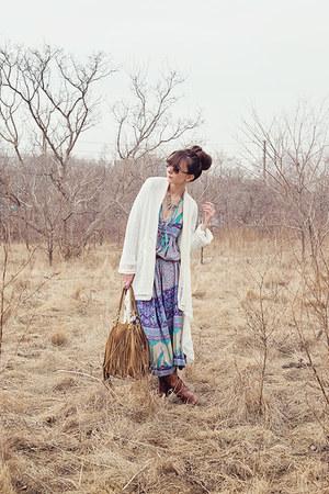light brown fringed Target purse - sky blue boho Spell Designs dress