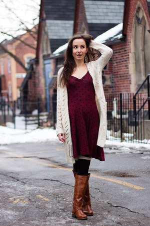 tawny riding Call it Spring boots - crimson polka dot asos dress