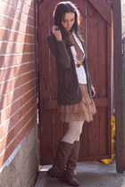 brown Ruche dress - brown long line f21 cardigan