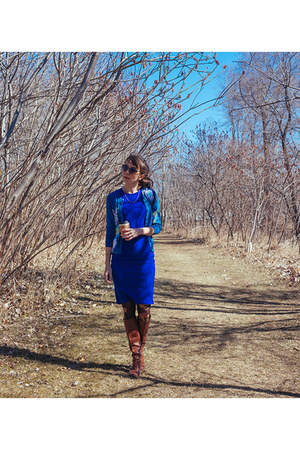 blue bodycon Forever 21 dress - dark brown classic unknown boots