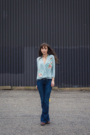 aquamarine embroidered Anthropologie shirt - navy boot cut Gap jeans