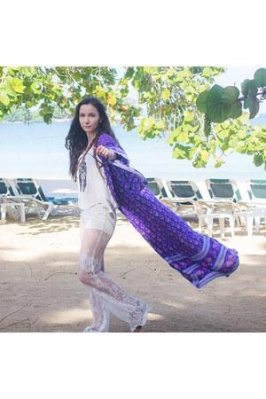deep purple kimono Spell Designs jacket - white trapeze unknown shirt