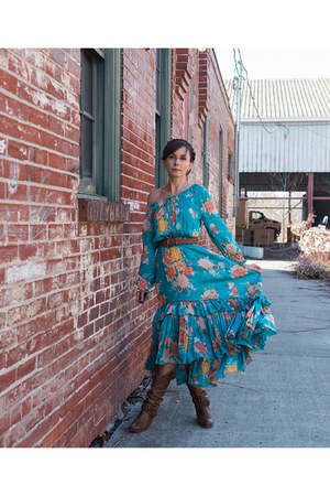 brown cowboy thrifted boots - teal maxi dress Spell Designs dress