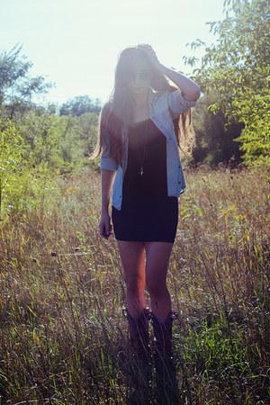 sky blue denim shirt Spell Designs top - dark brown cowboy unknown boots