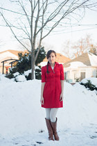 brown riding Call it Spring boots - red H&M dress