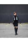 Black-riding-aldo-boots-black-bodycon-zara-dress